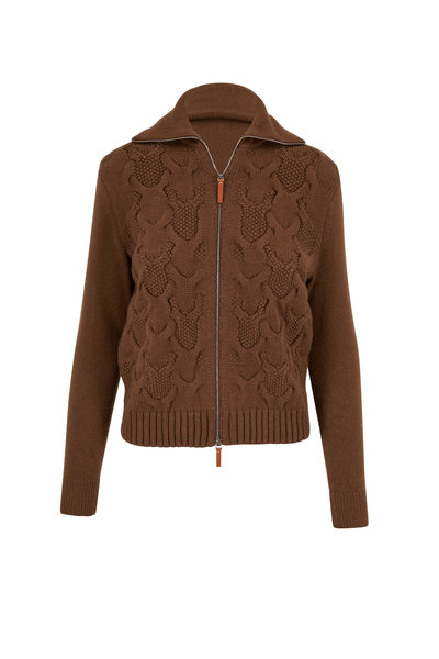 Lafayette 148 New York - Ashwood Cashmere Cable Knit Zip Front Sweater
