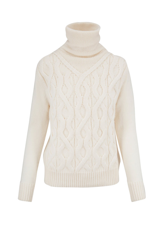 Lafayette 148 New York White Cashmere Cable Knit Sweater