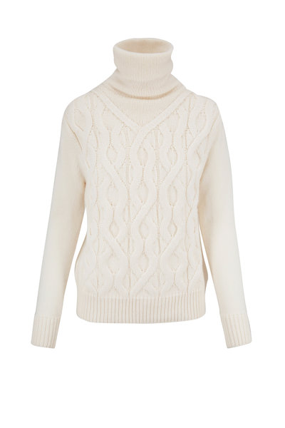 Lafayette 148 New York - White Cashmere Cable Knit Sweater