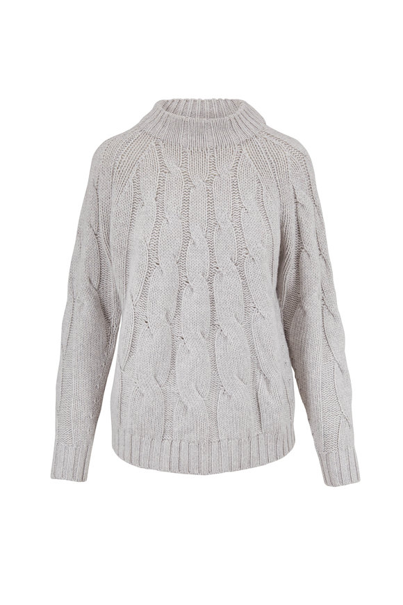 Lafayette 148 New York Gray Heather Lurex & Paillette Cable Knit Sweater