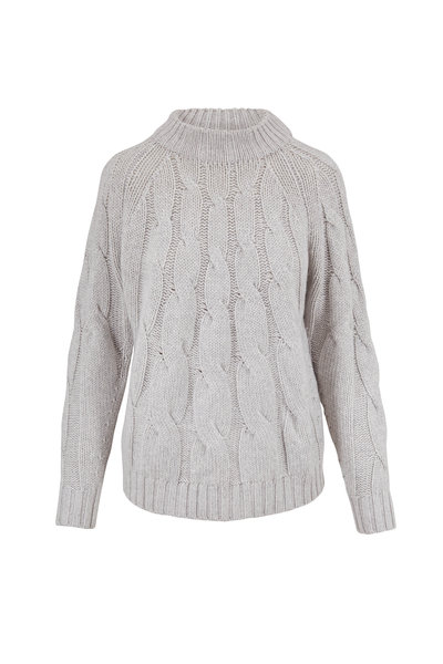 Lafayette 148 New York - Gray Heather Lurex & Paillette Cable Knit Sweater