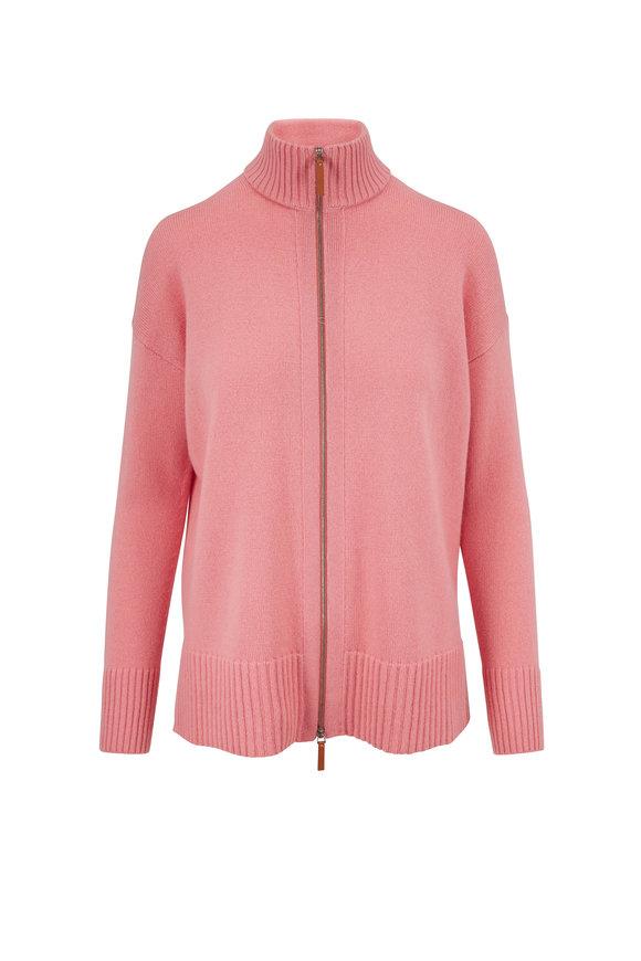Lafayette 148 New York Pink Salt Mélange Front Zip Sweater