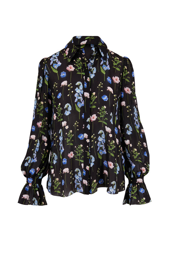 Carolina Herrera Black Multi Silk Floral Print Puff Sleeve Blouse