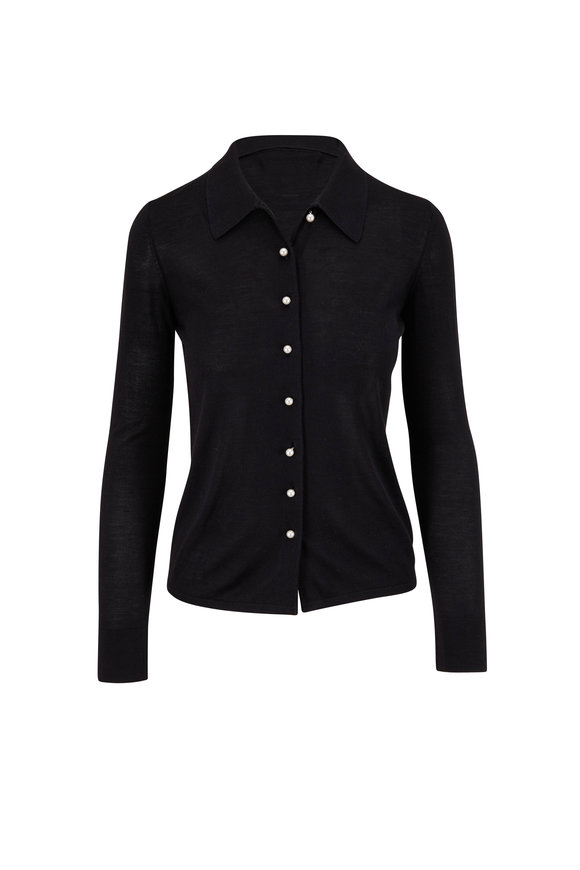 Carolina Herrera Black Silk & Cashmere Knit Button Down Shirt