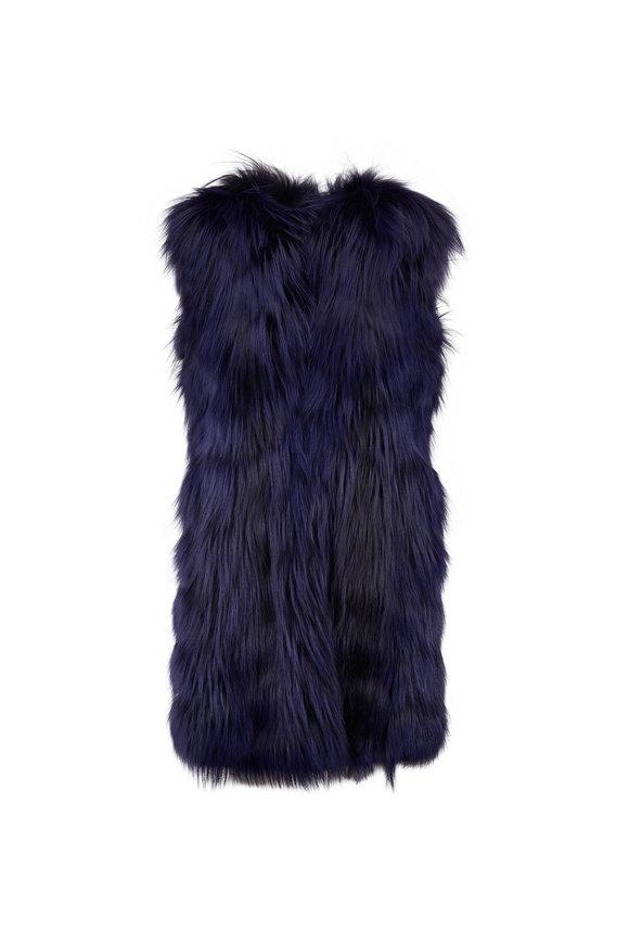 Oscar de la Renta Furs Navy Blue Dyed Arctic Fox Vest