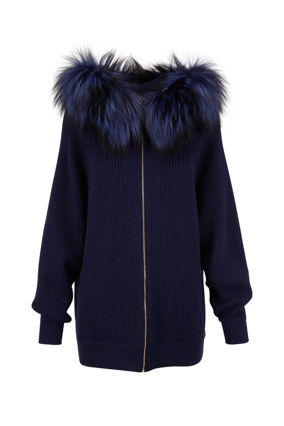 Reich Furs Navy Cashmere & Fur Trim Hooded Sweater