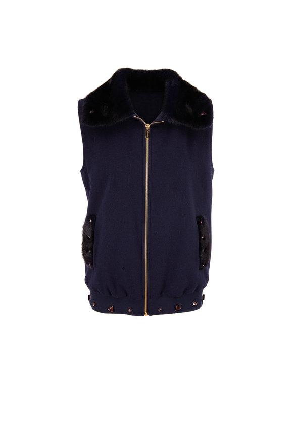 Reich Furs Navy Cashmere & Mink Zip Front Vest