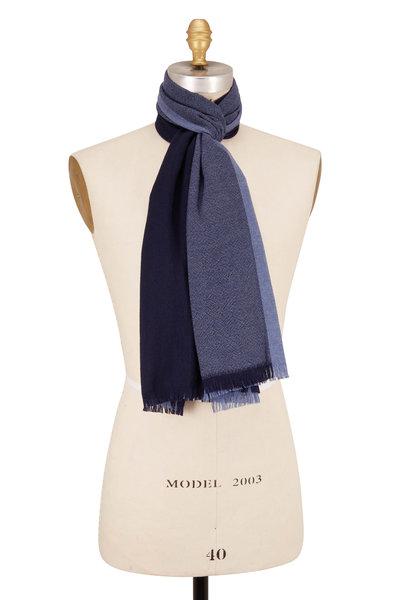 Eton - Navy Wool Textured Knit Scarf