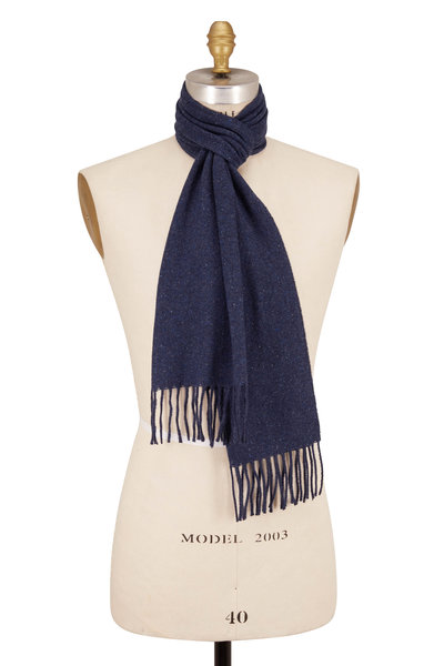 Eton - Donegal Blue Wool & Silk Scarf