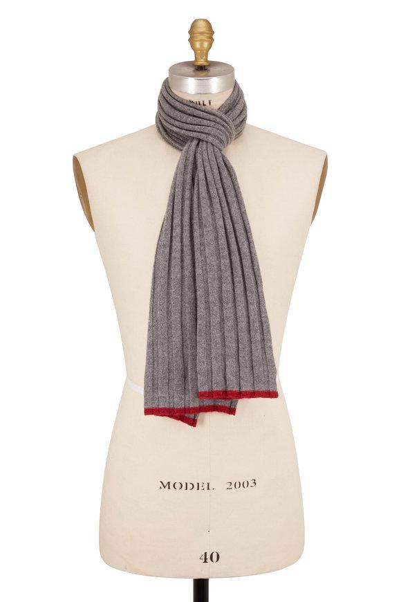 Brunello Cucinelli Medium Gray Ribbed Cashmere Scarf