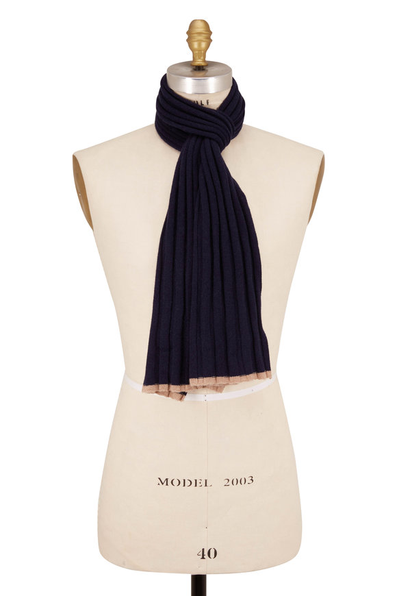 Brunello Cucinelli Navy Ribbed Cashmere Scarf