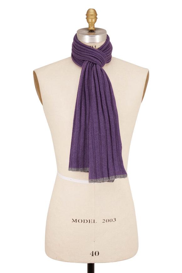 Brunello Cucinelli Purple Ribbed Cashmere Scarf