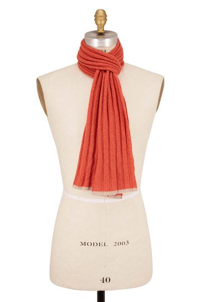 Brunello Cucinelli - Orange Ribbed Cashmere Scarf