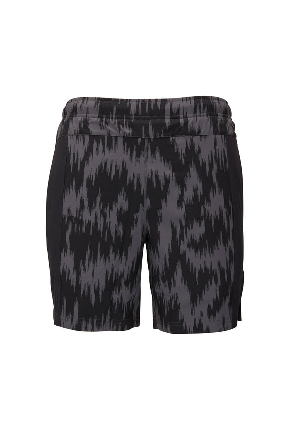 Fourlaps Bolt Gray Ikat Print Performance Shorts