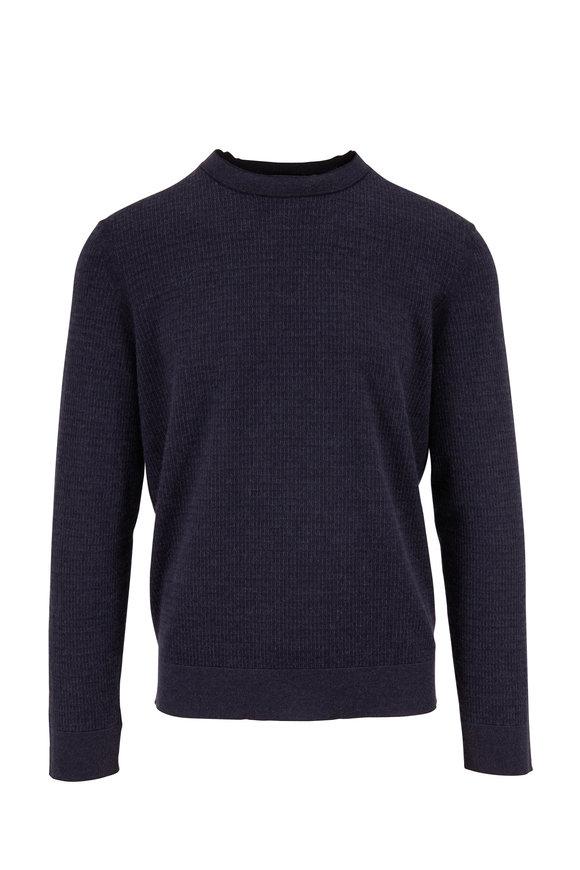 Ermenegildo Zegna Navy Textured Knit Sweater