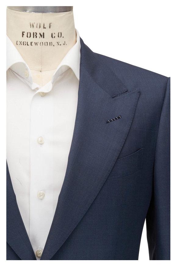 Tom Ford Shelton Slate Blue Sharkskin Wool & Silk Suit
