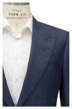 Tom Ford - Shelton Slate Blue Sharkskin Wool & Silk Suit