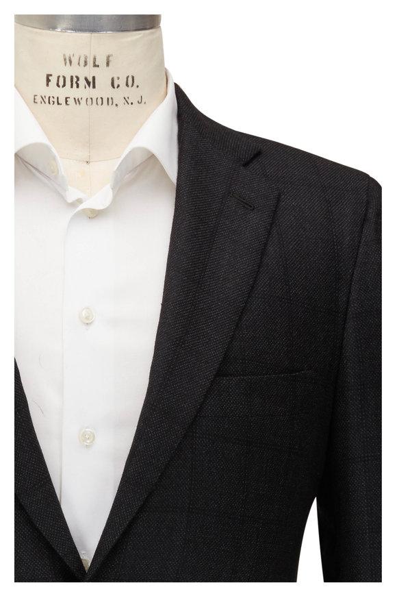Kiton Charcoal Cashmere Tonal Windowpane Suit