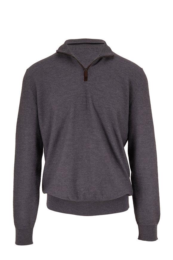 Ermenegildo Zegna Charcoal Wool Quarter-Zip Pullover