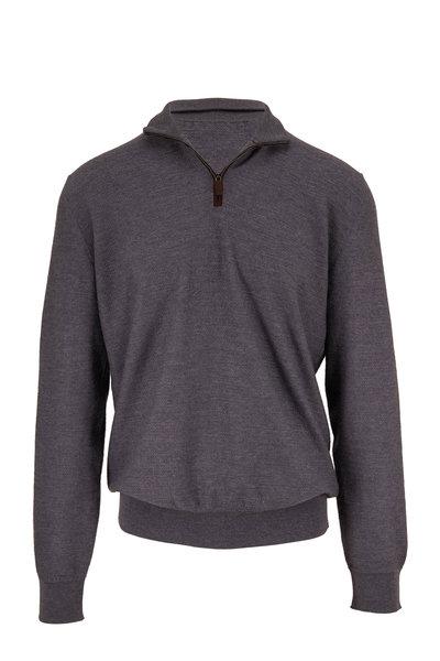 Ermenegildo Zegna - Charcoal Wool Quarter-Zip Pullover