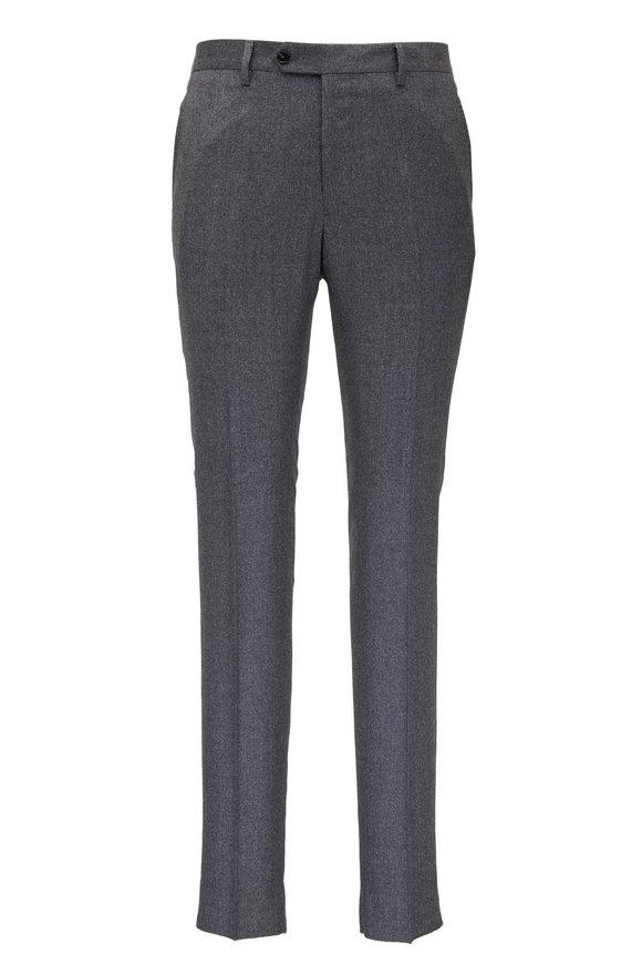 Maurizio Baldassari Gray Wool Flannel Flat Front Pant