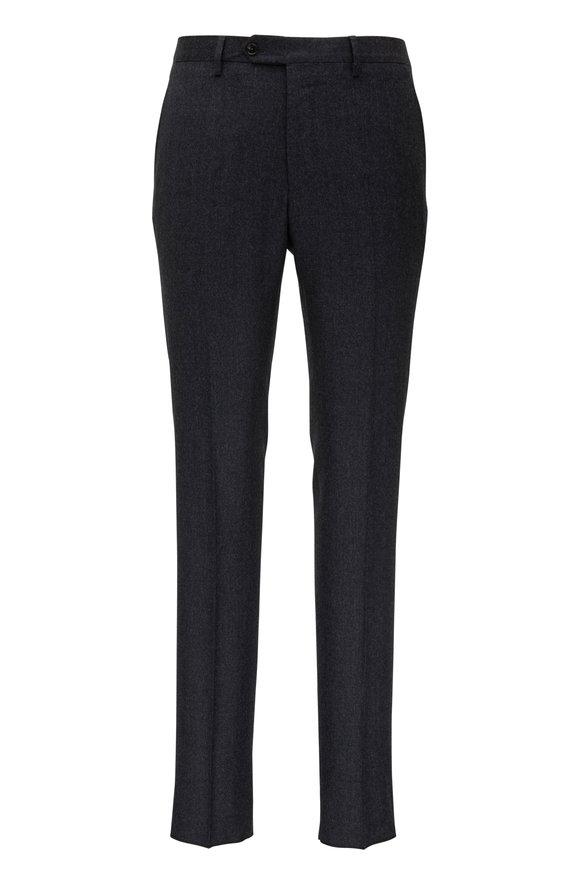Maurizio Baldassari Charcoal Wool Flannel Flat Front Pant