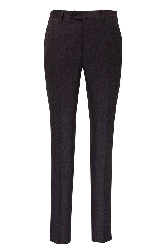 Maurizio Baldassari Burgundy Wool Flannel Flat Front Pant