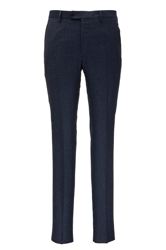 Maurizio Baldassari Slate Blue Wool Flat Front Pant