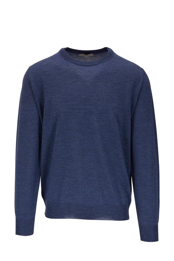 Canali Denim Blue Extrafine Merino Crewneck Pullover
