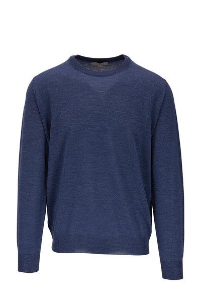 Canali - Denim Blue Extrafine Merino Crewneck Pullover