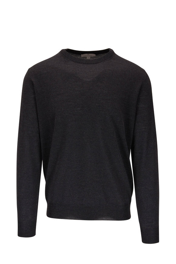 Canali Charcoal Gray Extrafine Merino Crewneck Pullover