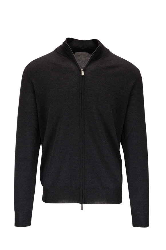 Canali Charcoal Gray Extrafine Merino Front Zip Sweater