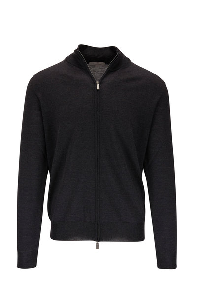 Canali - Charcoal Gray Extrafine Merino Front Zip Sweater