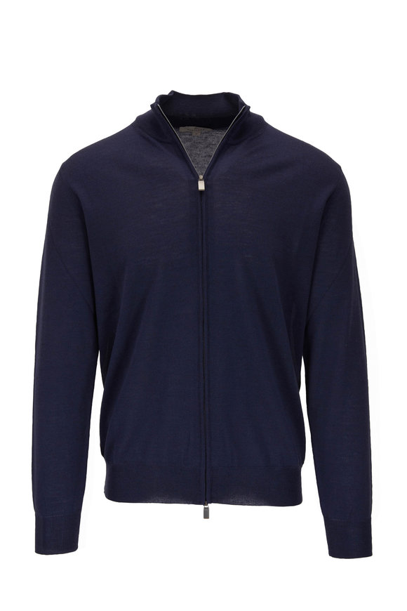 Canali Blue Extrafine Merino Front Zip Sweater
