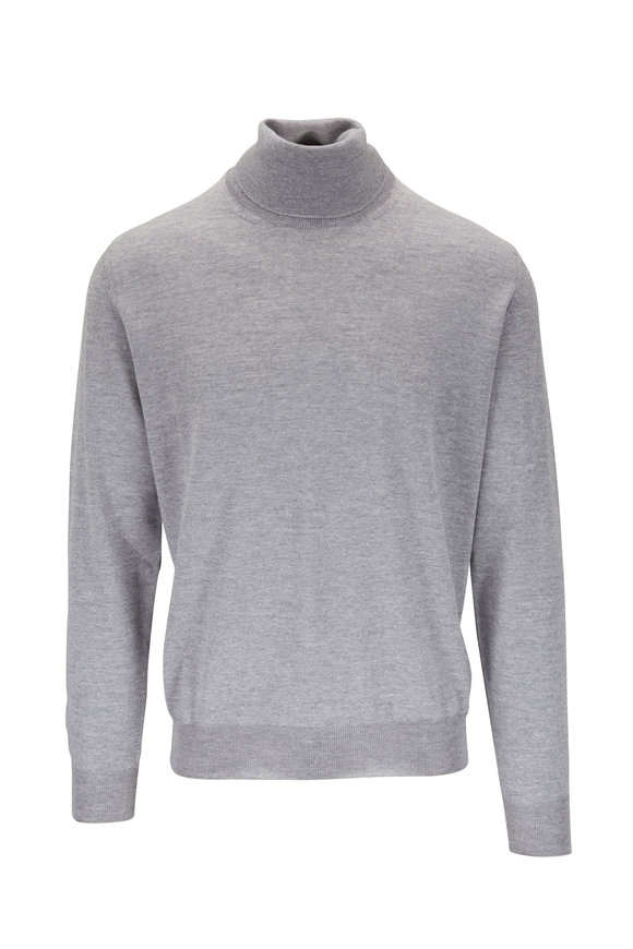 Canali Light Gray Extrafine Merino Turtleneck
