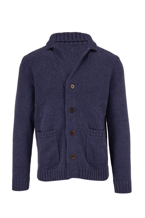 Fedeli Navy Button Front Cashmere Cardigan