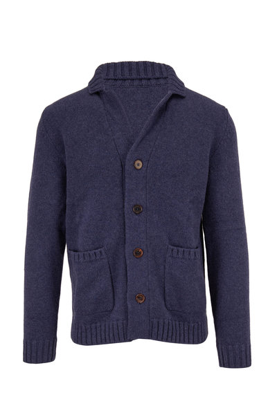 Fedeli - Navy Button Front Cashmere Cardigan