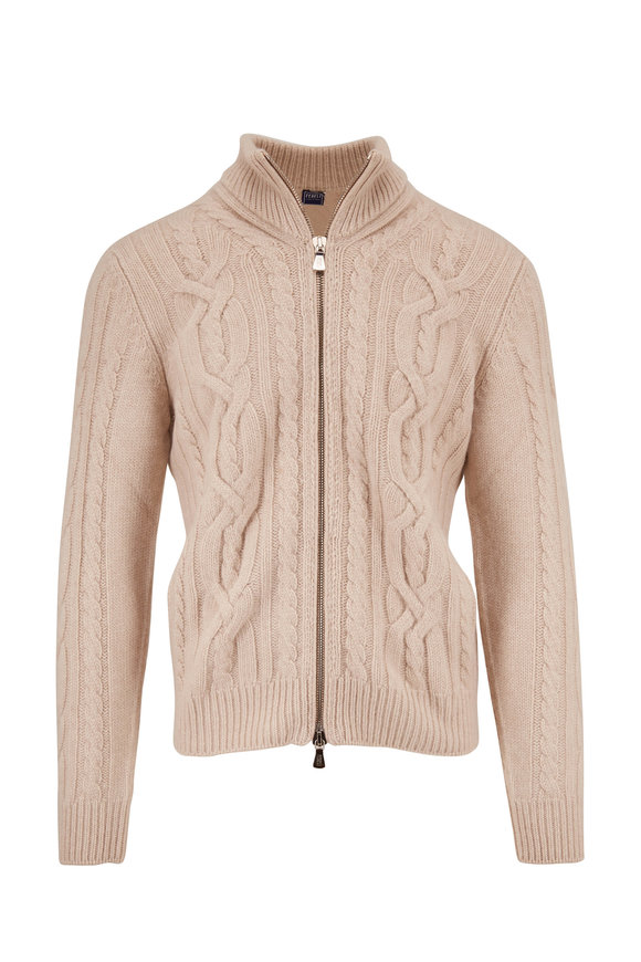 Fedeli Oat Chunky Cable Knit Front Zip Sweater