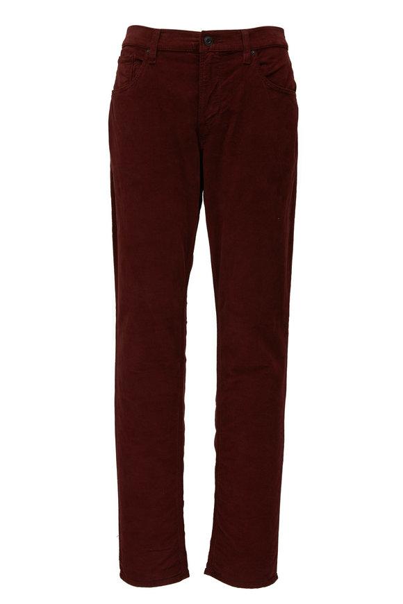 Hudson Clothing Blake Maroon Corduroy Slim Straight Jean
