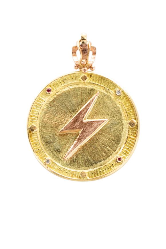 James Banks 18K Yellow Gold Phoenix Coin Pendant