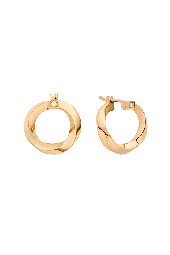 Nouvel Heritage 18K Rose Gold Diamond Thread Hoops