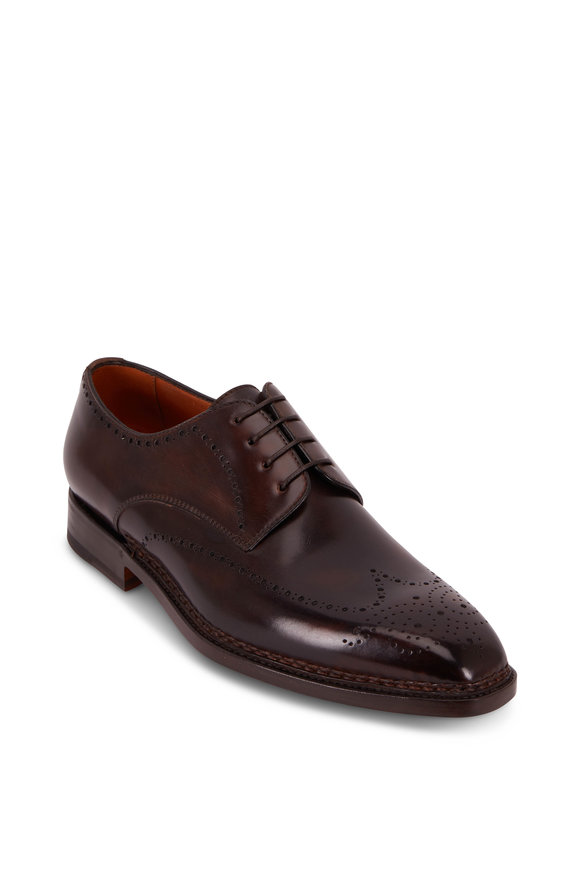 Bontoni Rossano Chocolate Leather Lace-Up Dress Shoe