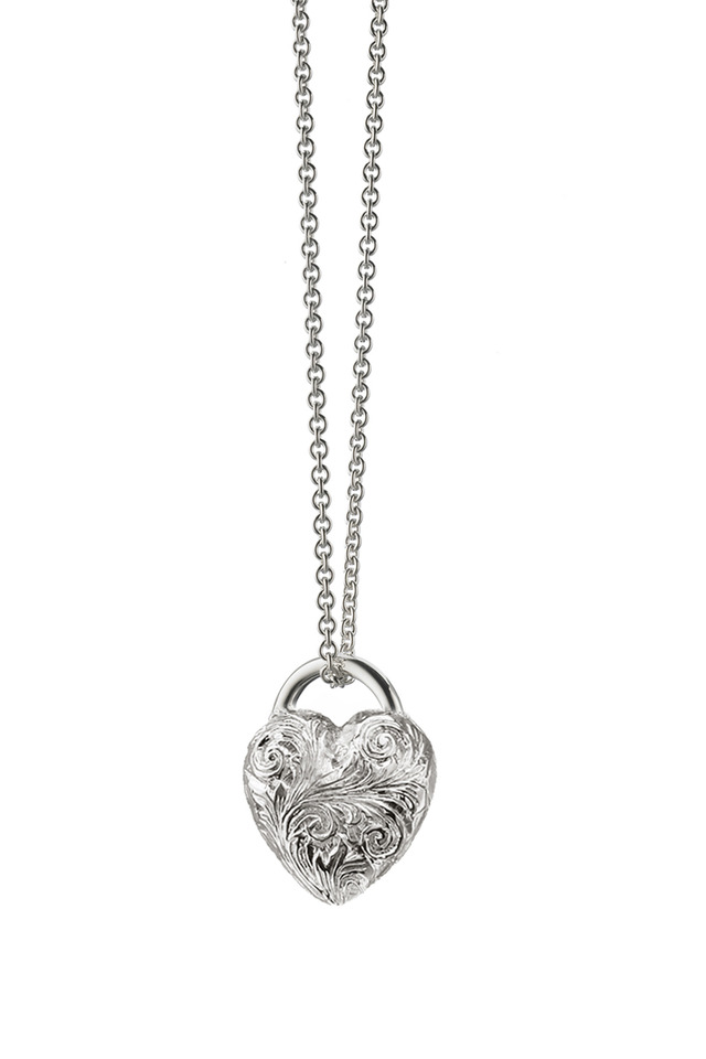 Sterling Silver Engraved Heart Charm Necklace