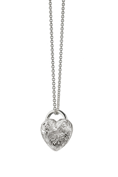 Monica Rich Kosann - Sterling Silver Engraved Heart Charm Necklace