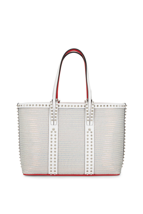 Christian Louboutin Cabatta White Leather Trim Small Studded Tote Bag
