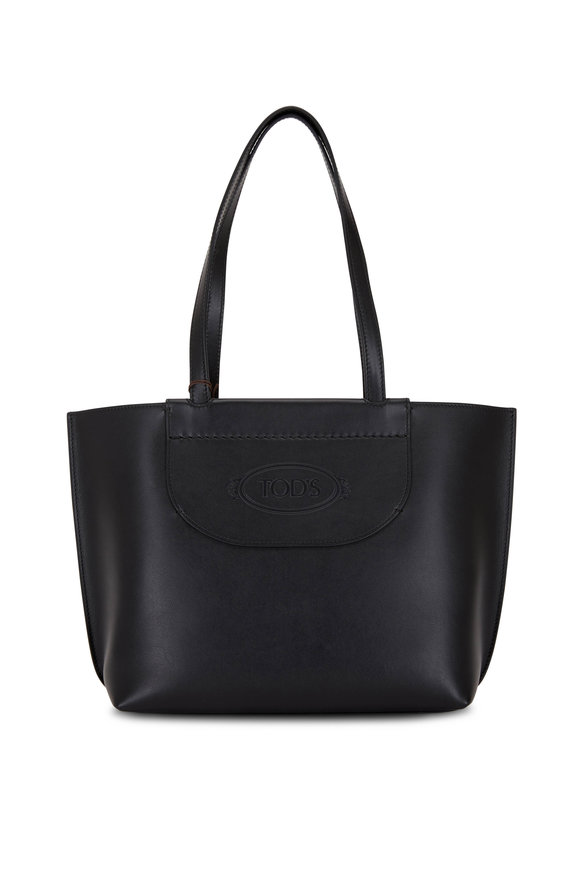 Tod's AOL Black Leather Mini Shopping Tote