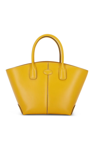 Tod's - Manici Yellow Leather Medium Shopper Tote