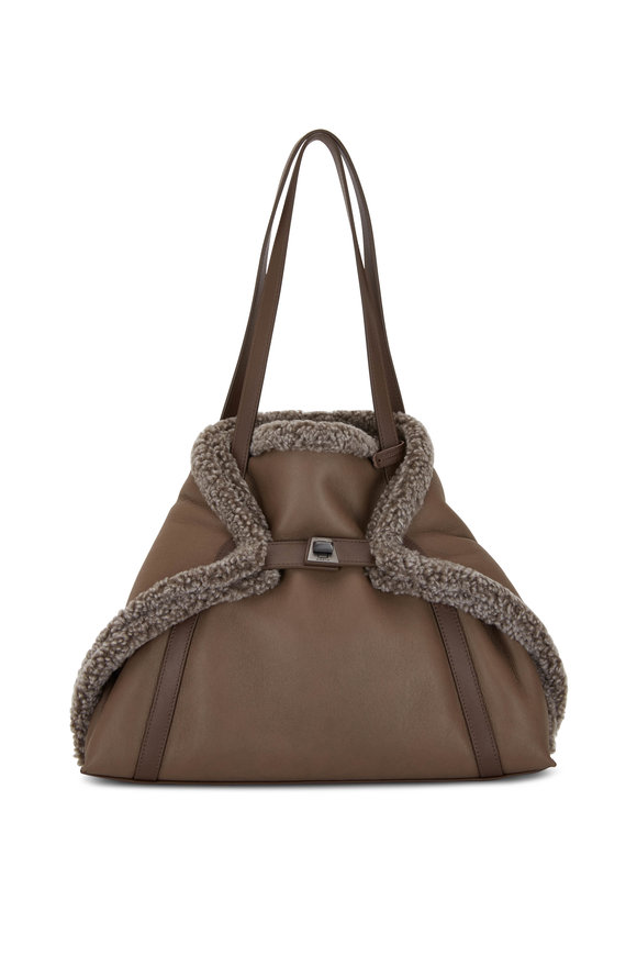 Akris Ai Taupe Suede & Shearling Reversible Small Tote