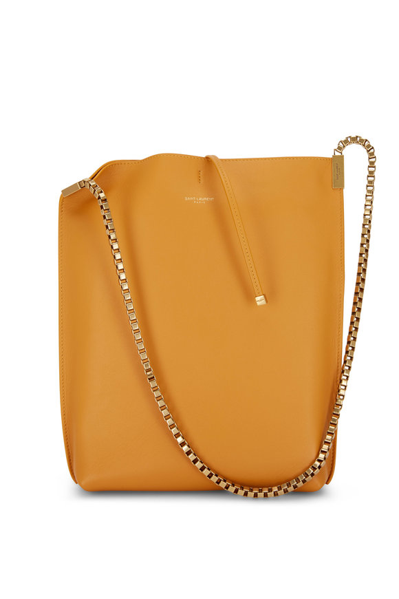 Saint Laurent Suzanne Mustard Smooth Leather Small Hobo Bag
