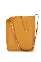 Saint Laurent - Suzanne Mustard Smooth Leather Small Hobo Bag